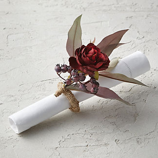 Ranunculus and Berry Fall Floral Napkin Rings, Set of Four
