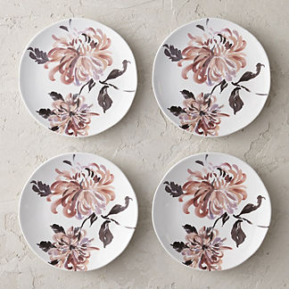 Moody Floral Ceramic Salad Plates, Set of Four