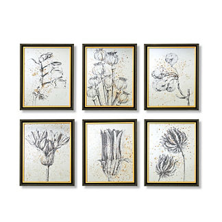 Mirrored Botanicals Wall Art, Set of Six