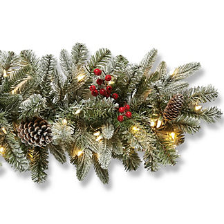 Freshly Fallen Snowcrest Indoor Cordless 9' Garland