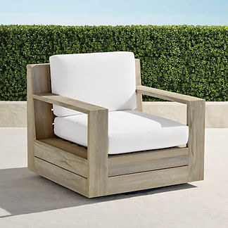 St. Kitts Swivel Lounge Chair in Weathered Teak with Cushions