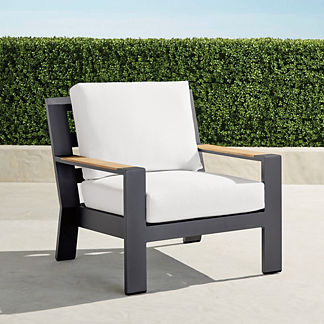 Calhoun Lounge Chair with Cushions in Matte Black Aluminum, Special Order