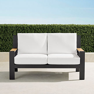 Calhoun Loveseat with Cushions in Aluminum, Special Order