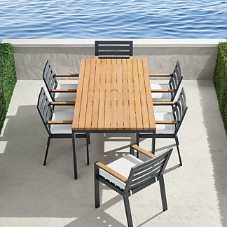 Calhoun 7-pc. Dining Set in Matte Black Aluminum