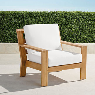 Calhoun Lounge Chair with Cushions in Natural Teak, Special Order