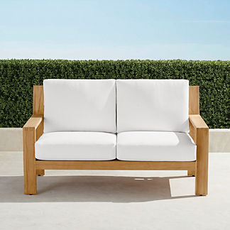 Calhoun Loveseat with Cushions in Natural Teak, Special Order