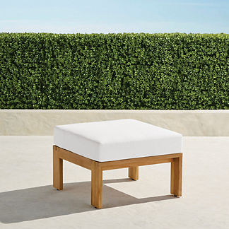 Calhoun Ottoman with Cushion in Natural Teak, Special Order