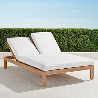 Calhoun Double Chaise with Cushions in Natural Teak, Special Order