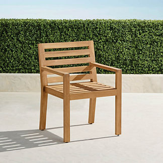 Calhoun Dining Arm Chairs in Natural Teak. Set of Two