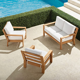 Calhoun 3-pc. Loveseat Set in Natural Teak