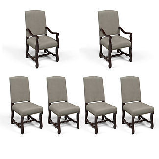 Valetta Arm and Side Chair in Dove Velvet, Set of Six