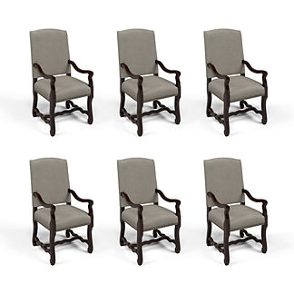 Valetta Arm Chair in Dove Velvet, Set of Six