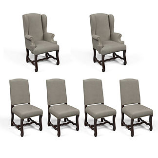 Valetta Host & Side Chair in Dove Velvet, Set of Six