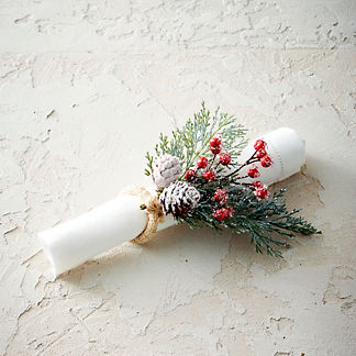 Frosty Cedar and Berry Napkin Rings, Set of Four