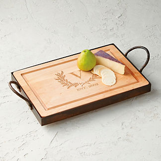 Iron Tray with Removable Maple Cutting Board