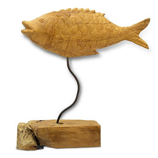 Floating Teak Fish on Plinth
