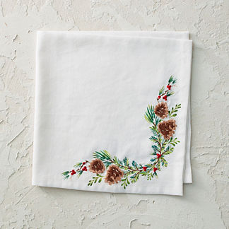 Holly Berries & Pine Cones Napkins, Set of Four