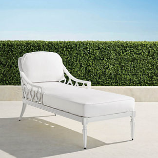Avery Chaise Lounge with Cushions in White Finish, Special Order