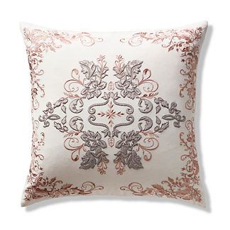 Aviana Velvet Embroidered Decorative Pillow Cover in Blush Gray