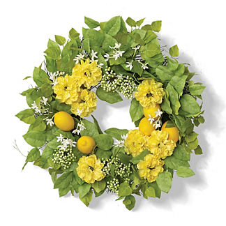 Granada Lemon Zinnia Wreath