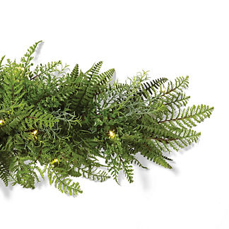 Outdoor Mixed Fern 9 ft. Cordless Garland