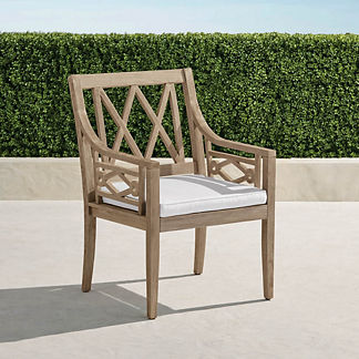 Surrey Hill Dining Arm Chair with Cushions in Weathered Teak, Special Order