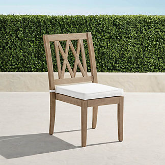 Surrey Hill Dining Side Chairs with Cushions, Set of Two in Weathered Teak