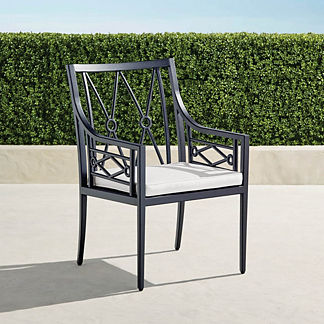 Surrey Hill Dining Arm Chair with Cushions in Aluminum, Special Order