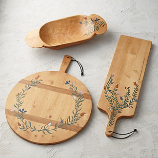 Handpainted 19th-Century European Wooden Serveware