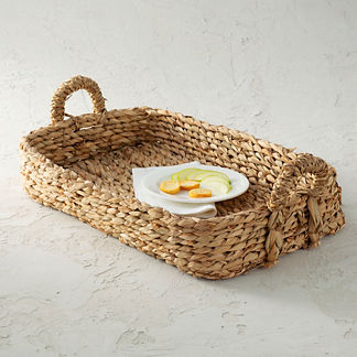 Rush Woven Rectangular Tray with Handles