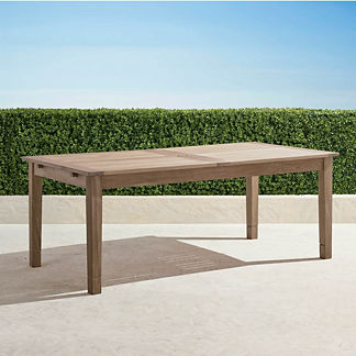 Classic Teak Expandable Dining Table in Weathered Finish