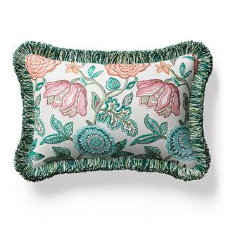 Harlan Floral Fringed Lumbar Indoor/Outdoor Pillow
