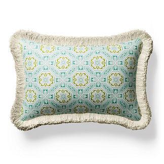 Laraville Tile Fringed Lumbar Indoor/Outdoor Pillow