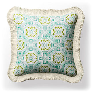 Laraville Tile Fringed Indoor/Outdoor Pillow