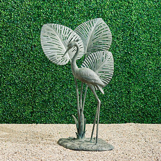 Verdigris Heron with Leaf Sculpture