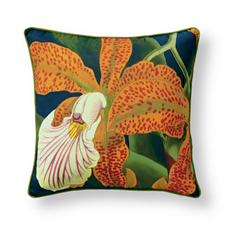 New York Botanical Spotted Orchid Outdoor Pillow