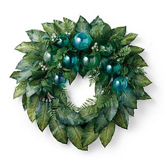 Desert Springs Broadleaf and Glass Wreath