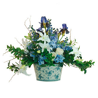 Lily Delphinium in Blue Bowl
