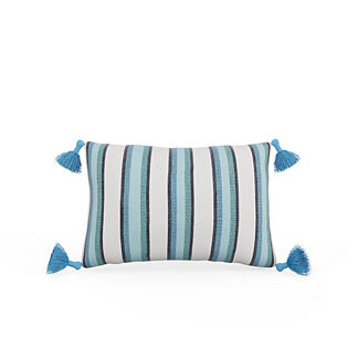 Ibiza Stripe Tasseled Lumbar Indoor/Outdoor Pillow