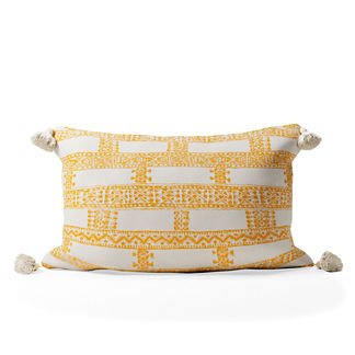 Santandria Stripe Tasseled Lumbar Indoor/Outdoor Pillow
