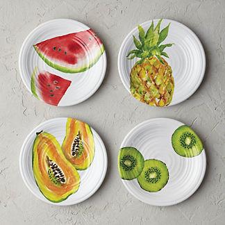 Tropical Fruit Melamine Salad Plates, Set of Four