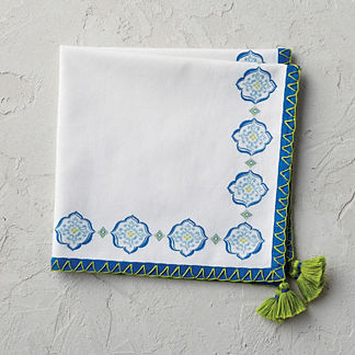 Seville Tile Tassel Napkins, Set of Four