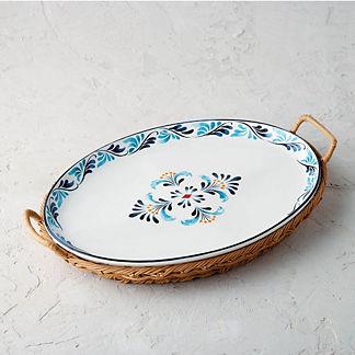 Marbella Ceramic and Rattan Oval Platter