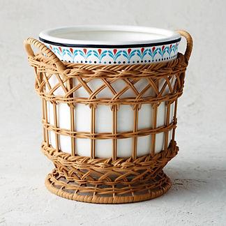 Marbella Ceramic and Rattan Champagne Bucket