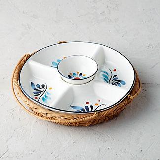 Marbella Ceramic & Rattan Dip Server