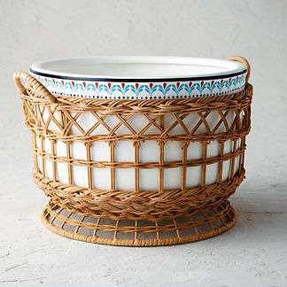 Marbella Ceramic and Rattan Party Tub