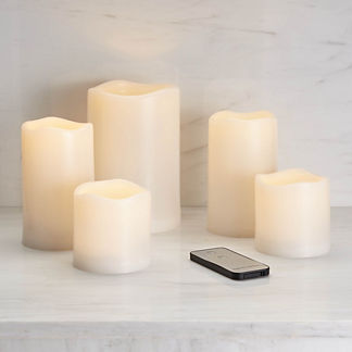 Set of Five Soft Glow Outdoor Flicker Candles