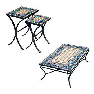 KNF Caribbean Sea Mosaics Nesting Tables, Set of Two