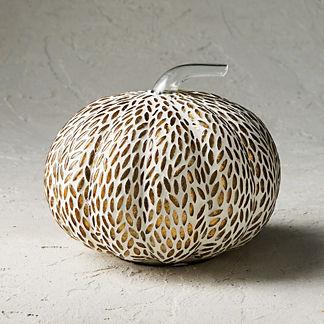 Mosaic Almond Glass Pumpkin