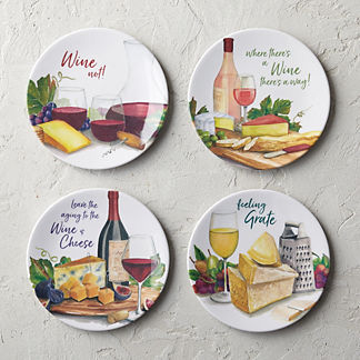 Cheese & Wine Sayings Melamine Appetizer Plates, Set of Four